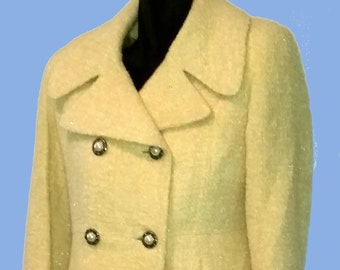 "Women's ""Bebe,""  Butter creme Mod style Spring coat Sz S-M"