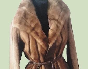 Mink & Leather Belted Jacket/Coat Sz S-M