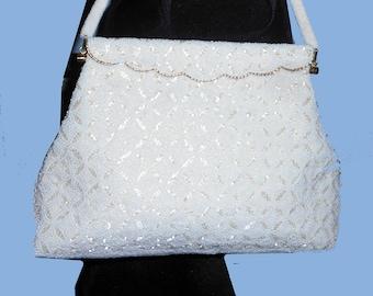 """Women's Vintage 1950's White Beaded Handbag, Larger size, 71/2"""" X 12"""""""