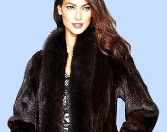 Full Length MAXI' Dark Chestnut Mink Fur Coat W/Fox Collar trim Sz M-ML
