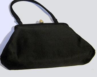 Sac de soirée en Satin Noir Vintage 40-50 femme. SZ S
