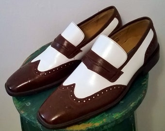 Men's Vintage Casual 70's Brown & Wht two-tone Loafers/Nwt sz 8.5M