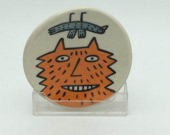 Hand painted small ceramic dish- orange fluffy cat