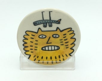 Hand painted small ceramic dish- yellow fluffy cat