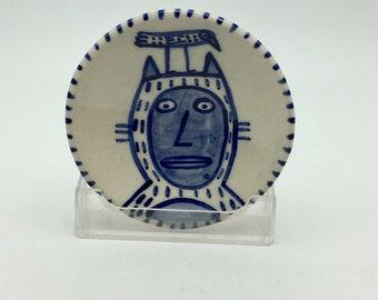 Cobalt blue small ceramic dish- Siamese cat/bird