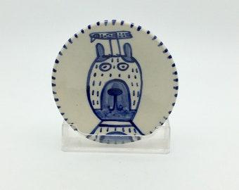 Cobalt blue small ceramic dish- dog/bird