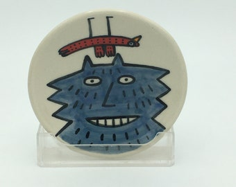 Hand painted small ceramic dish- blue fluffy cat