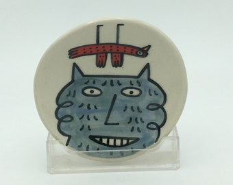 Hand painted small ceramic dish- blue curly cat