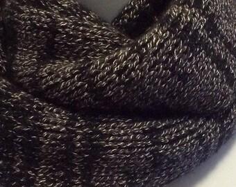 Cashmere blend infinity scarf, loop cowl, fleck pattern (brown/white/black)