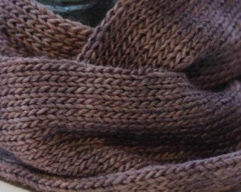 Wool and silk blend infinity scarf, loop cowl (purple/mauve heather)