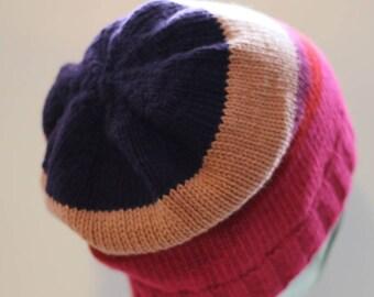 Striped beanie/slouch/toque hat in cashmere/merino/cotton, stripe pattern purple/beige/heather/red/fuchsia (large)