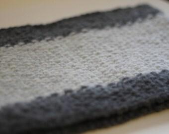 Unisex chunky knitted cowl dot dot dash - angora/merino (heathered grey stripes)