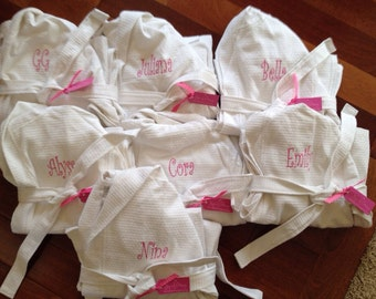 Set of 15 Child Kids Embroidered Monogram Bath Robe Hooded Waffle Weave 100% Cotton