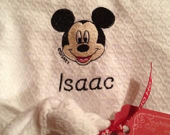 DISNEY Kids Robe - Cotton Kids Waffle Weave Embroidered Disney Prince Princess Character Robe