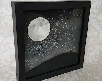 "Artwork ""Star Gazers"" - Acrylic 8x8 Painting - Celestial Moon Art - Moon and Stars Art - Shadowbox Moon Art - Free Shipping"