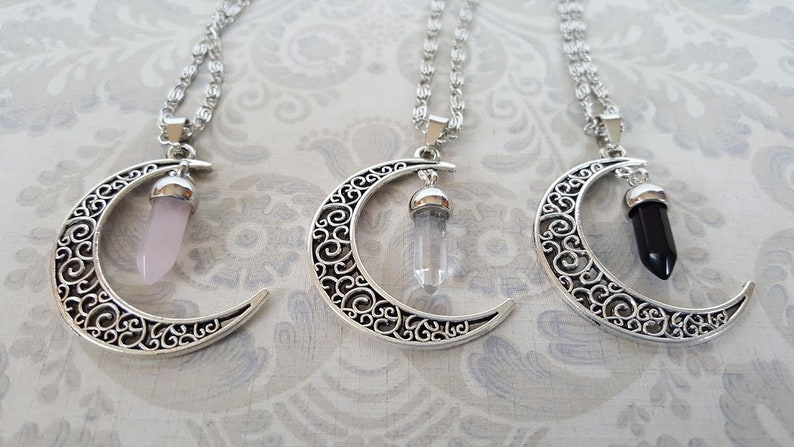 Crescent Moon Crystal Necklace  Witchy Moon Necklace  image 0