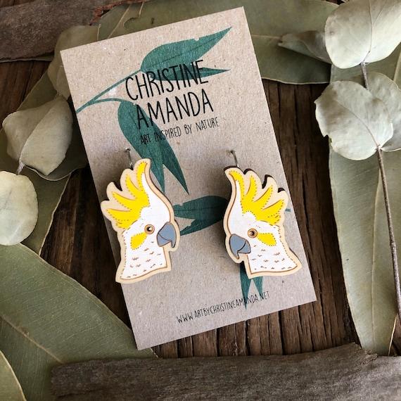 Sulphur Crested Cockatoo Statement Earrings