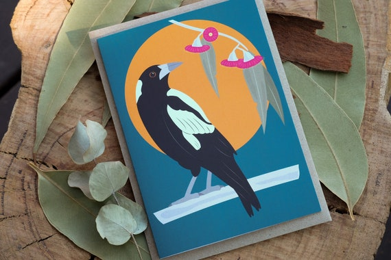 Magpie with Flowering Gum Eco Greeting Card