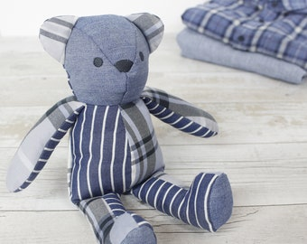 PERSONALISED MEMORY BEAR keepsake made from a loved ones clothing / shirts - memorial bear / remembrance gift