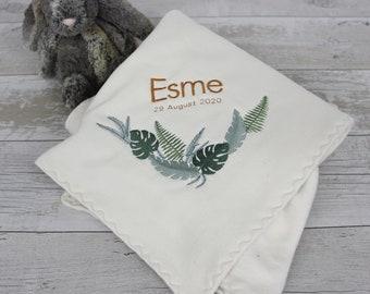 Personalised organic baby blanket - leaf design