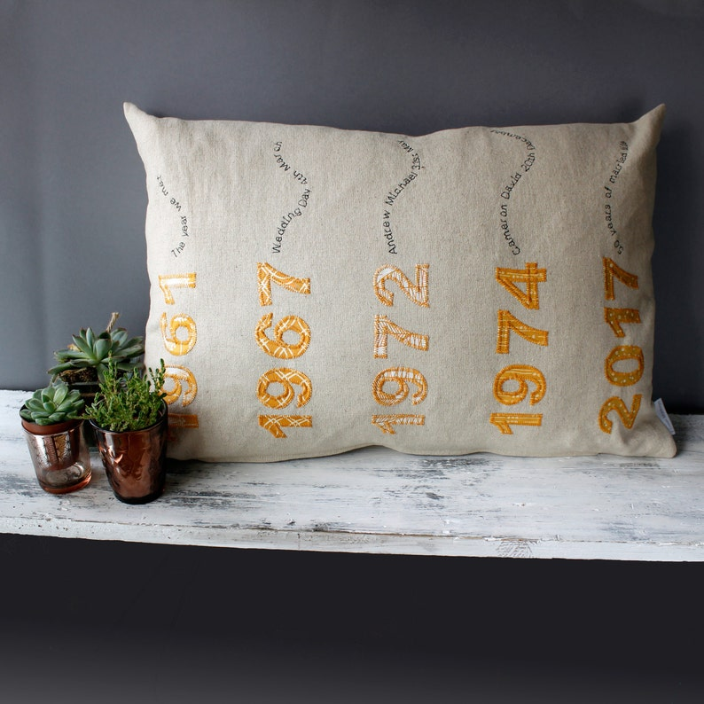 50th Anniversary Gifts Personalised Cushion Ideal 50th image 0