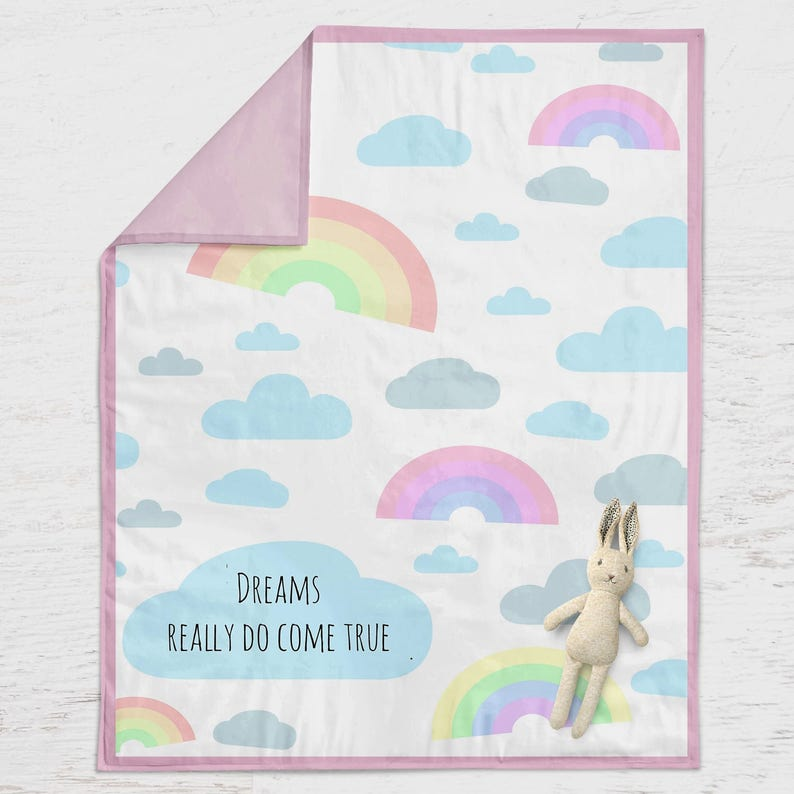 Personalised baby gift blanket  rainbow / Christening gift / image 0