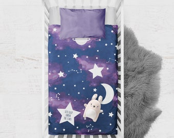 Under The Star Moon Quilt / personalised with embroidered name / Celestial / Galaxy Decor / Outer Space Decor / Space Nursery Decor