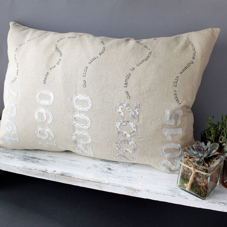 25th Anniversary Gift For Parents Personalised Cushion Ideal image 0