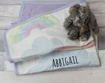 Personalised baby gift blanket - rainbow / Christening gift / Baptism gift