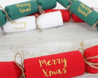 Set of Eco friendly Fabric Christmas Crackers / Personalised Name Napkin - traditional Xmas colours