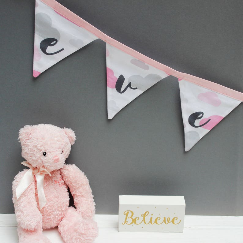 Pink Cloud Bunting  Personalised Bunting for Baby Girl image 0