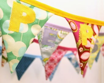 PERSONALISED BUNTING / custom fabric name flags with applique letters