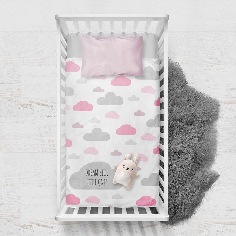 Personalised baby gift blanket  clouds in grey & pink / image 0