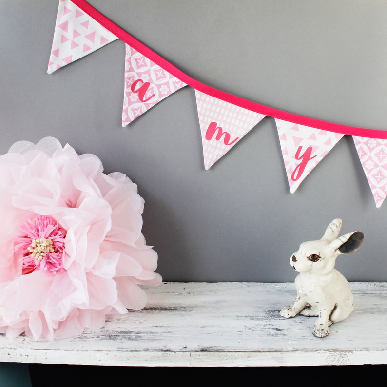 Pink bunting/ Girls Bunting / Bunting / personalised bunting / image 0
