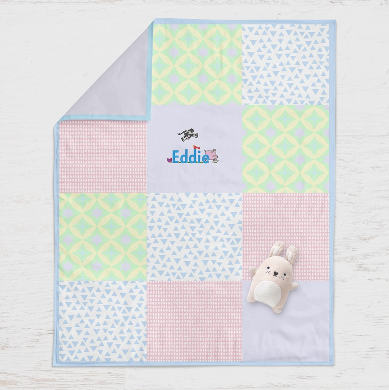 Baby boy blanket / custom baby blanket with name / Baby Quilt image 0