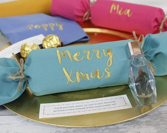 Set of Environmentally friendly Fabric Christmas Crackers / Personalised Name Napkin - Jewel colours