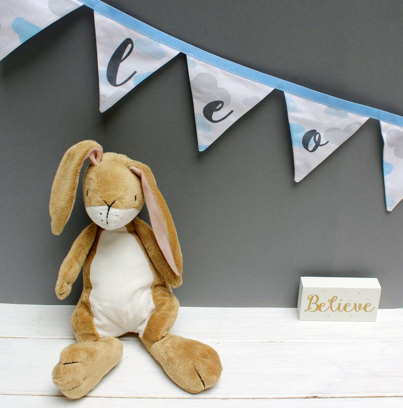 Blue Cloud Bunting  Personalised Bunting for Baby Boy Nursery image 0