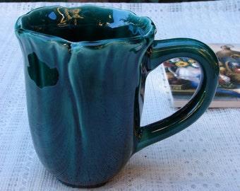 Deep Forest Green Blossom Ceramic Coffee Mug