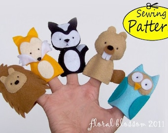 Digital Pattern: Woodland Creatures 01 Felt Finger Puppets