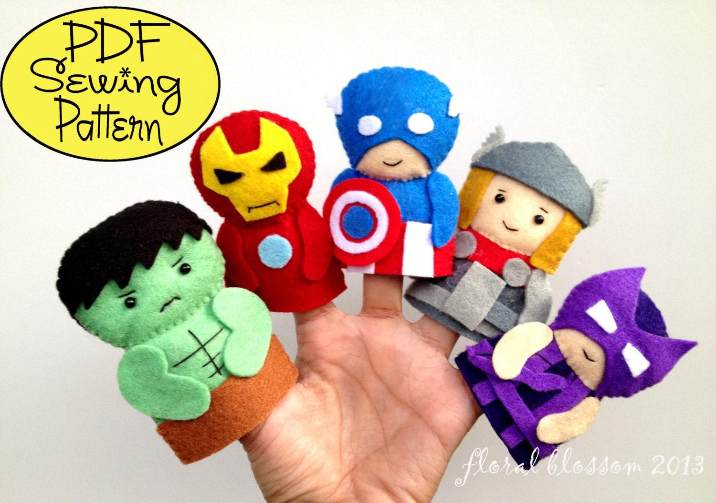 Digital Pattern Superheroes Felt Finger Puppets Etsy