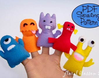 Digital Pattern: Little Monsters Felt Finger Puppets