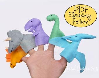 Digital Pattern: Prehistoric Friends Felt Finger Puppets
