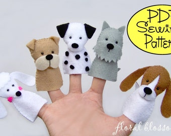 Digital Pattern: Dogs Felt Finger Puppets