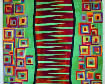Art quilt, abstract quilt, wall hanging, wall decor- Stepping Stones #2