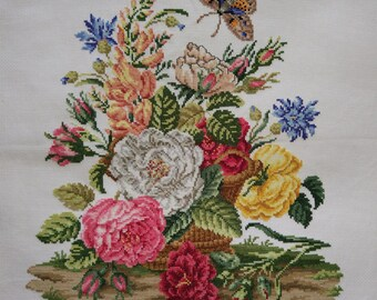 New Finished Completed Cross Stitch - Multi-color peony - F166k