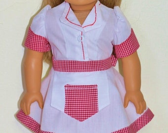 WAITRESS 7pc uniform including shoes and socks Fits 18inch dolls.Made in America