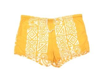 3c77f6bf65 1960s Cotton Surf Print Swim Trunks Vintage Men's Mid Century Yellow  Swimwear Tiki Hawaiian Aloha Swimsuit L/Large/XL 37/38
