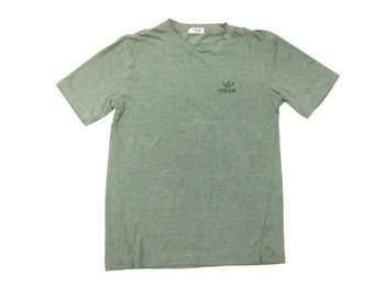 68b37f906 1980s Adidas x Descente Tee Vintage Retro 50/50 Blend Heather Sage Green  Embroidered Trefoil Logo T-Shirt Slim Size XS/S/Small