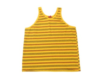 5b1e53fb4fbe71 1970s Kings Road Striped Surf Tank Top Vintage Retro Men s Yellow Cotton  70s Surfer Beach Sleeveless Tee T-Shirt L Large XL