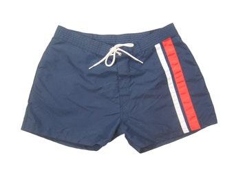 2243444c20 1990s Stussy Short Swim Trunks Vintage Men's 90s Made in USA Navy Nylon  Striped Swimsuit Swimwear Shorts 31/32 S/Small